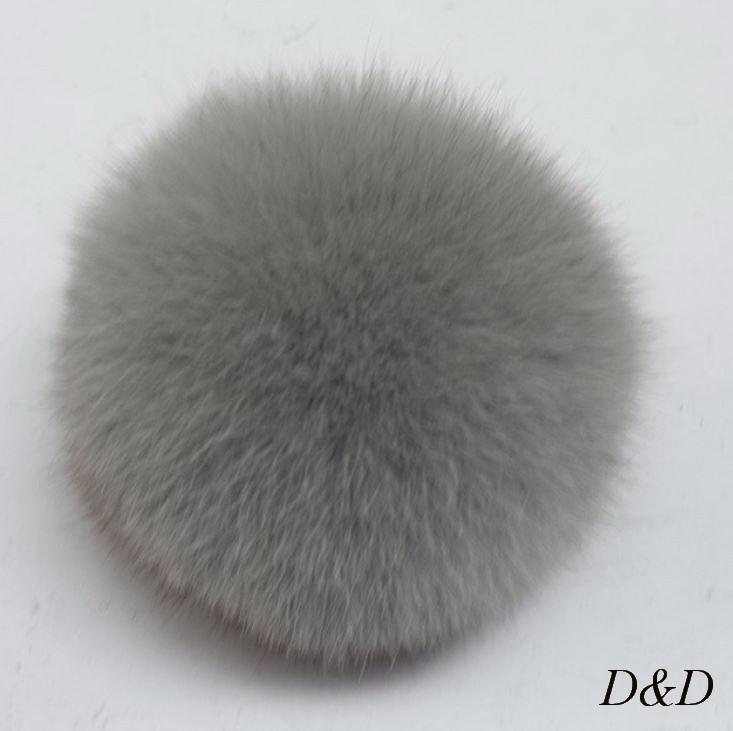 Брелок помпон натуральный мех серый диаметр 10 см