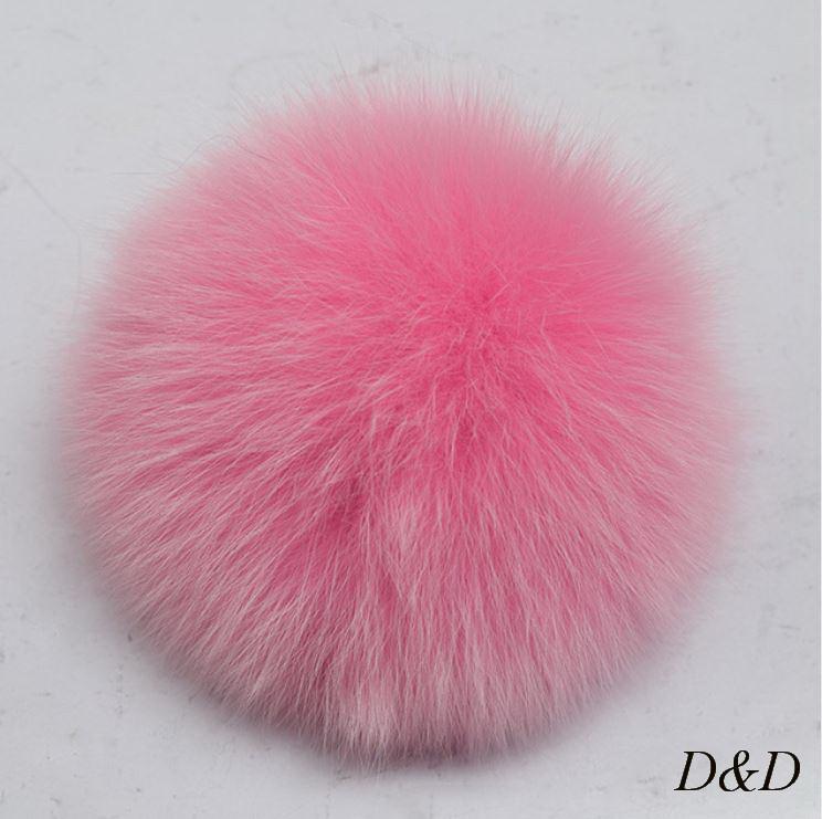 Брелок помпон натуральный мех розовый диаметр 10 см