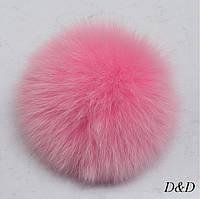 Брелок помпон натуральный мех розовый диаметр 8 см