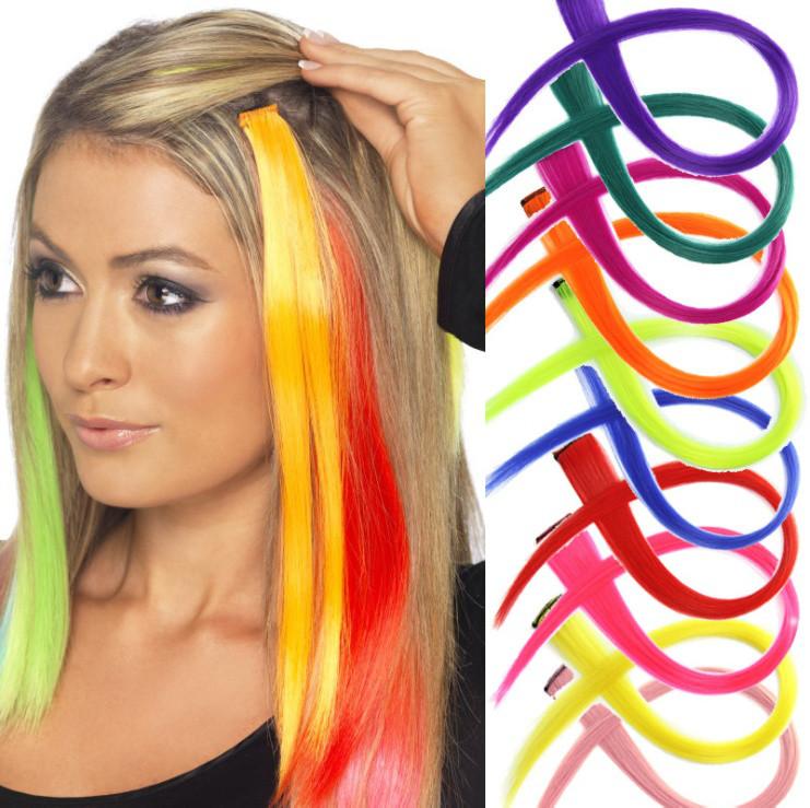 Разноцветные пряди для волос на клипсе 50 см цвета синий жёлтый зелёный голубой розовый оранжевый