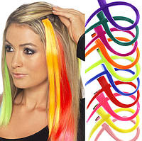 Разноцветные пряди для волос на клипсе 50 см цвета синий жёлтый зелёный голубой розовый оранжевый, фото 1
