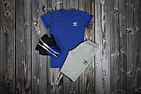 Летний спортивный костюм, комплект Adidas,  (синий+серый), Реплика