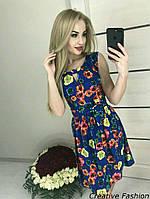 Платье летнее цвет электрик принт цветы 42-46р