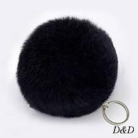 Брелок помпон натуральный мех черный диаметр 8 см