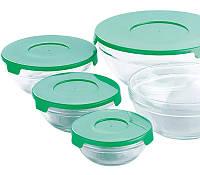 """Набор 5 стеклянных мисок Renberg """"LeJardin Comfort"""" с зелеными крышками"""