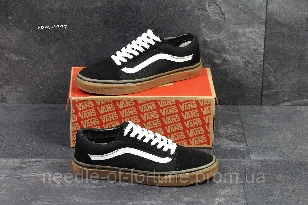 С 41р по 45р осенние весенние (демисезонные) мужские кроссовки Vans Old  School черно белые с коричневым ... 5b7861dbc3b