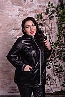 Черная женская кожаная куртка больших размеров Драйв