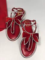 Утонченные кожаные сандалии RENE CAOVILLA красные (реплика), фото 1