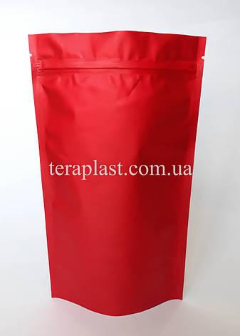 Дой-Пак 250г красный матовый 140х240 с зип замком, фото 2