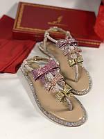 Утонченные кожаные сандалии RENE CAOVILLA розовые (реплика), фото 1