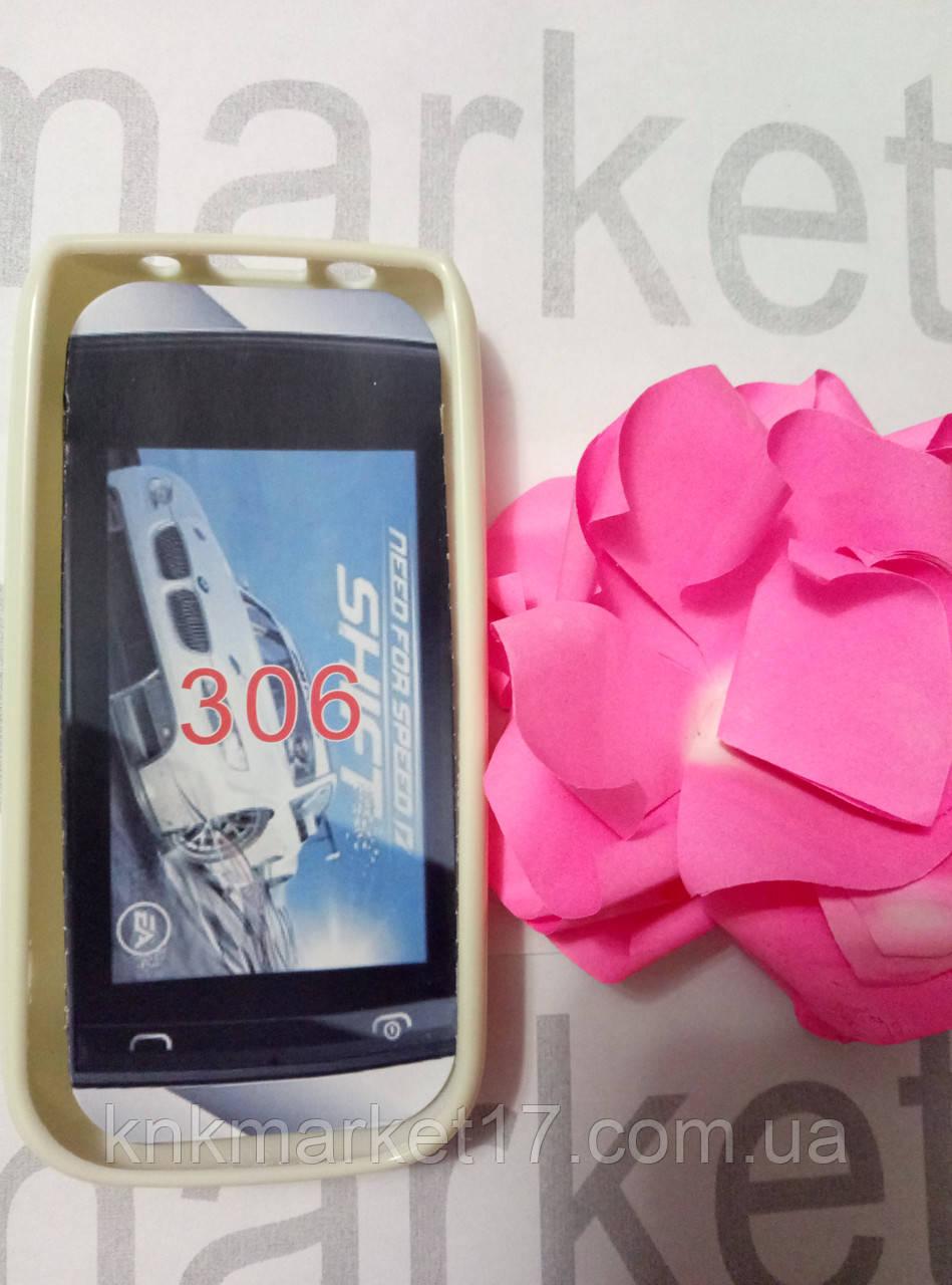 Чохол для Nokia 306 (пластик білий силікон)