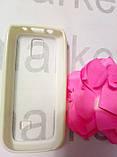 Чохол для Nokia 306 (пластик білий силікон), фото 2