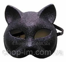 """Маска """"Кошка блестящая"""" (черная, карнавальная)"""