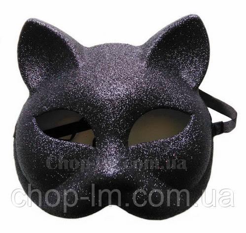 """Маска """"Кошка блестящая"""" (черная, карнавальная), фото 2"""