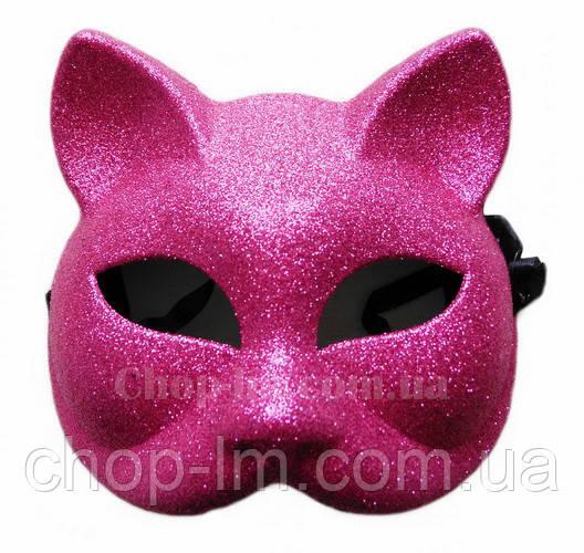 "Маска ""Кошка блестящая"" (розовая, карнавальная)"