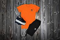 Летний спортивный костюм, комплект Adidas,  (оранжевый+черный), Реплика
