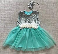 Нарядное детское платье для девочки 4-8 лет с пайтками
