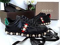 Модные женские кеды Gucci New Ace жемчуг черные (реплика), фото 1