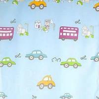 Тюль в детскую комнату для мальчика. Машинки. Голубая