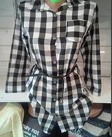Женская рубашка в черную клетку с поясом размер 46-48