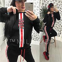 Женский спортивный костюм сиз двухнитки со вставками 58SP327