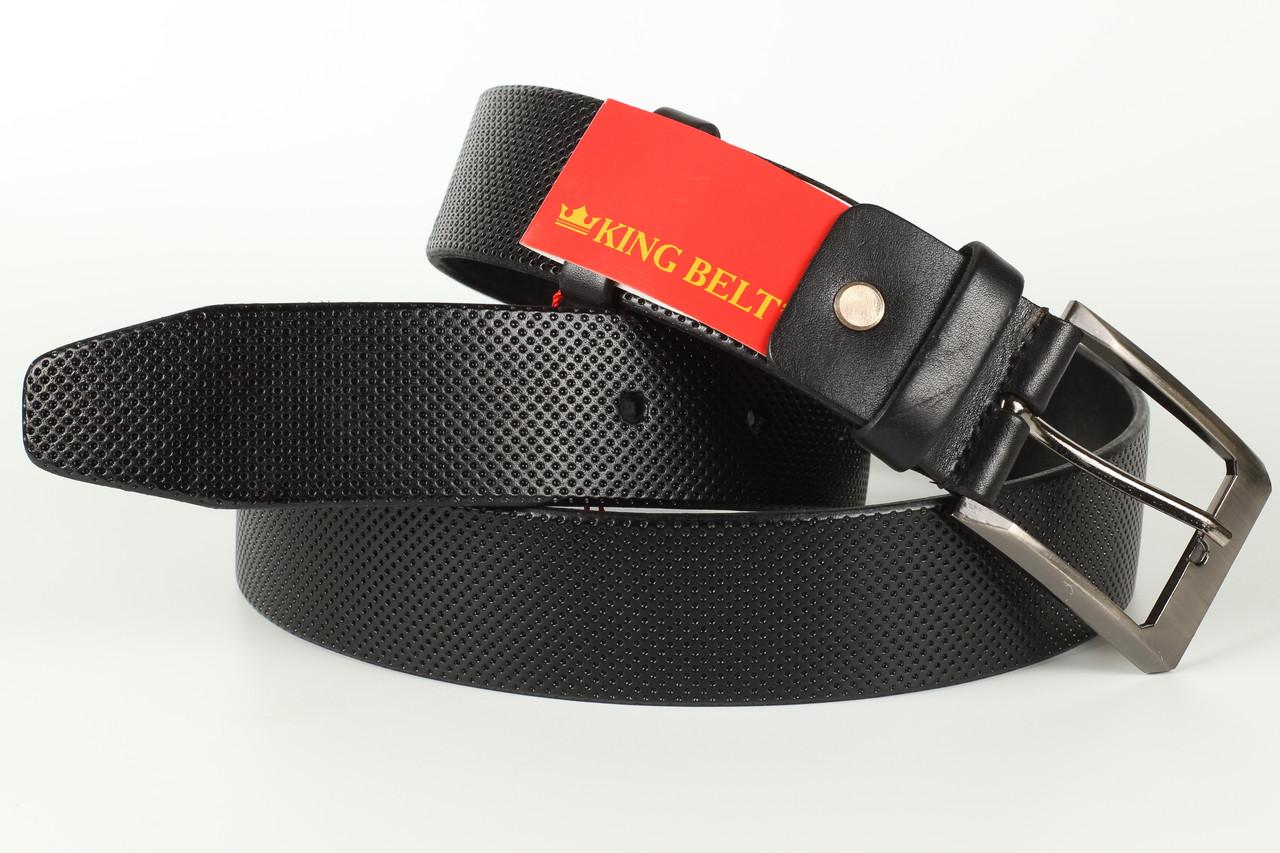 Ремень кожаный брючный King Belts 40 мм с тиснением