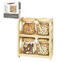 Набор для специй, спецовница на деревянной подставке Besser (4 емкостей)