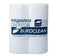 Полотенце бумажное BuroClean белое, 2 рулона, на гильзе, 2-х слойное 10100400