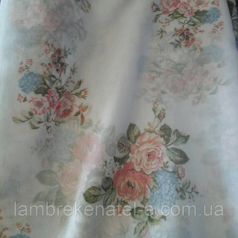Тюль лен с узором цветы прованс