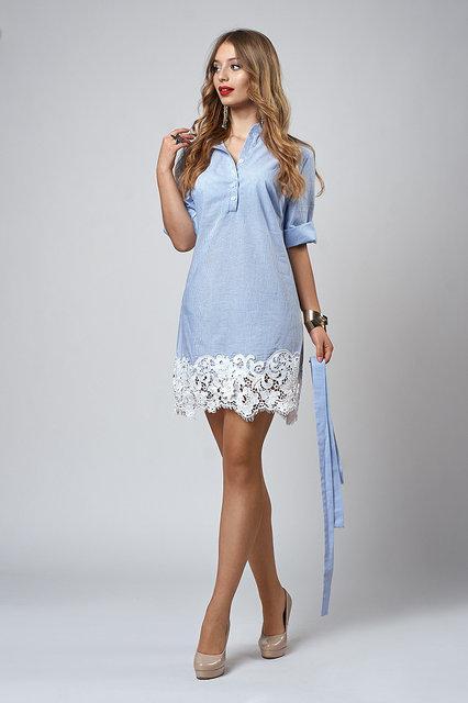 5f061a31545c0b4 Женское платье-рубашка отделано кружевом макраме,42,44,46,48, цена ...