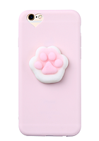 Розовый чехол с белым мягкой лапкой для айфон 5/5s анти стресс+зашлушки