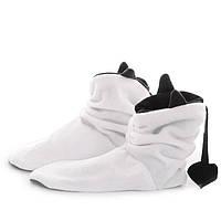 Тапочки Чертики белые с черными рожками, уютные тапочки флис для всей семьи, домашние тапочки сапожки