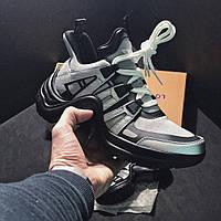 Женские кроссовки Louis Vuitton Sneakers Silver Black ,Реплика топ