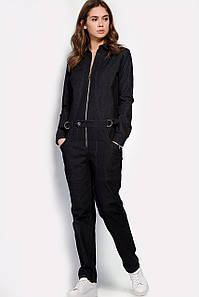 Черный женский комбинезон из плотного джинса (Evri crd)