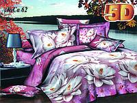 Постельное белье полуторное 5D принт Лотос размер 145*215, купить оптом со склада 7км Одесса
