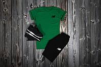 Летний спортивный костюм, комплект New Balance , белый логотип (зеленый+черный), Реплика