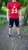 Летний спортивный костюм, комплект Jordan ,  (красный+синий), Реплика
