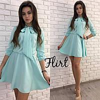 Платье модное с воротником-бант и пышной юбкой мини креп-костюмка разные цвета SMfL1710