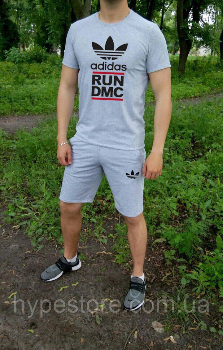 Летний спортивный костюм, комплект Adidas run DMC ,  (серый), Реплика