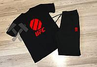 Летний спортивный костюм, комплект UFC , красный логотип (черный), Реплика