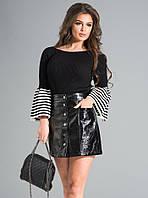 Женская юбка из экокожи черного цвета. Модель 17631. Размеры 42-46, фото 1