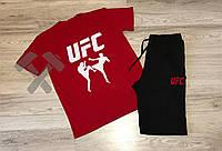Летний спортивный костюм, комплект UFC ,  (красный+черный), Реплика