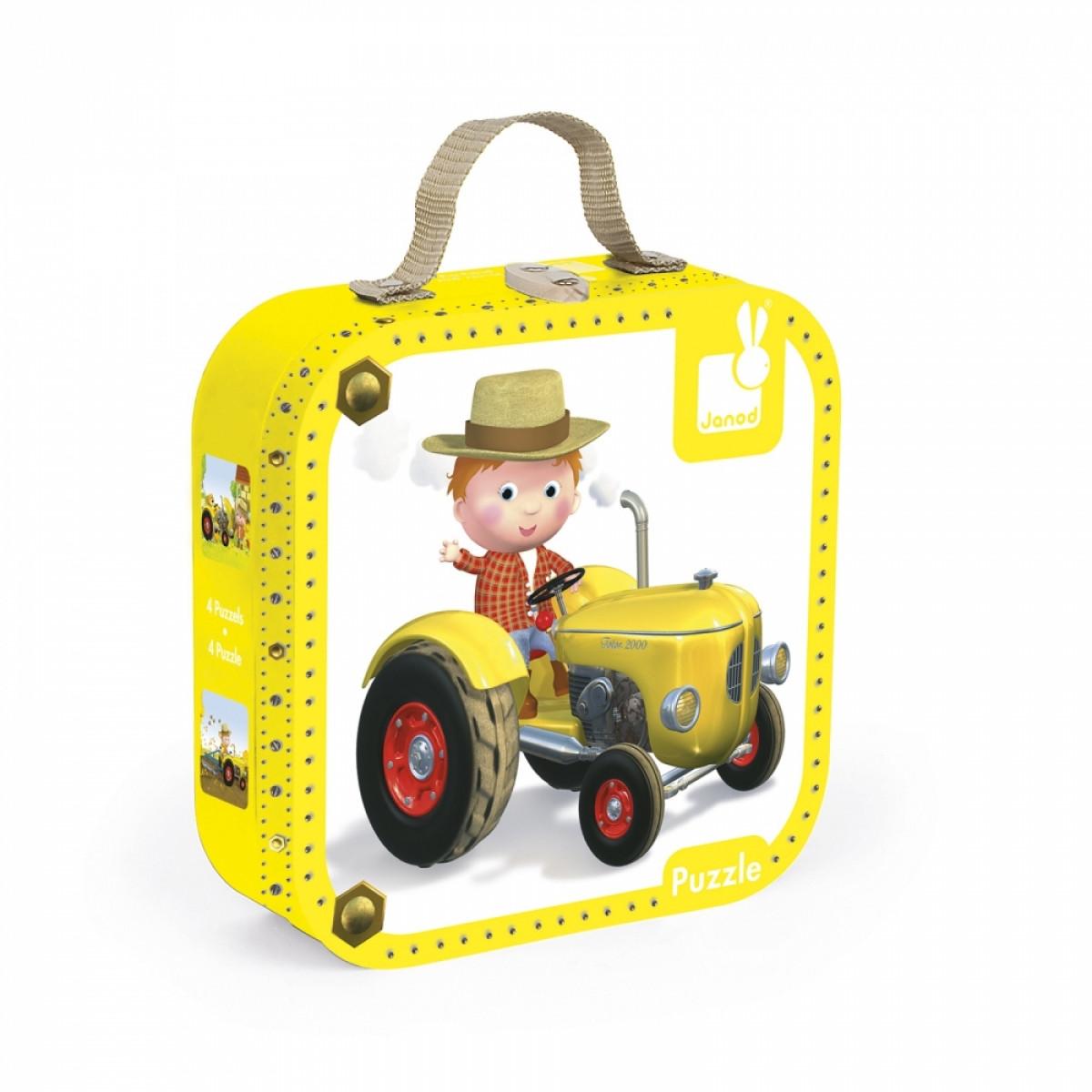 Janod - Набор из 4 пазлов Питер и его трактор