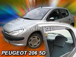 Дефлекторы окон (ветровики)  Peugeot 206 1998->2005 Sd/ Hb 5d 4шт (Heko)