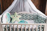 """Комплект в кроватку """"Little explorer"""" зеленый"""