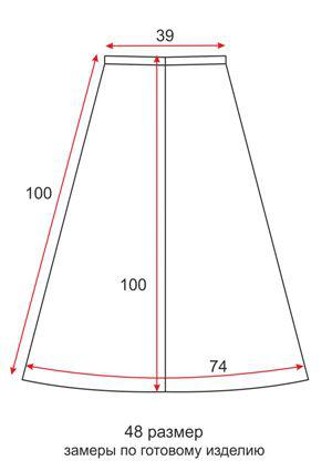 Юбка солнце на резинке с узором Бабочки - 48 размер - чертеж