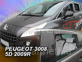 Дефлекторы окон (ветровики)  Peugeot 3008 2009->2016 5D 4шт (Heko)