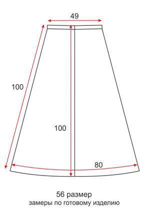 Юбка солнце на резинке с узором Бабочки - 56 размер - чертеж