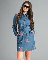 Стильное джинсовое платье с вышивкой. Модель 17649. Размеры 42-46