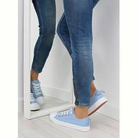 Кроссовки женские с бантиком голубые 8935 BLUE
